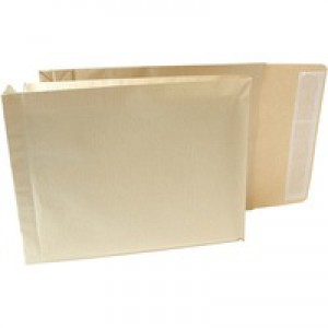 New Guardian Armour Envelopes Peel And Seal Gusset 50mm 130gsm Kraft Manilla 330x260mm [Pack 100]