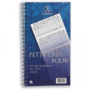 Challenge Petty Cash Book Carbonless Wirebound 200 Sets in Duplicate 280x152mm Code J71989