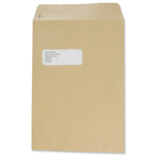 Basildon Bond Watermarked Envelope C4 Window 90gsm Manilla Peel and Seal Pack of 250 A80192
