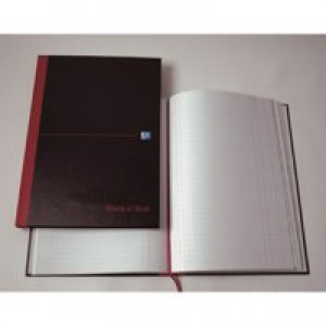 Black n Red Casebound Manuscript Book 192 Pages A5 Single Cash B66853