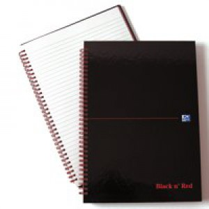 Black n Red Wirebound Notebook A4 140 Pages Ruled Feint B67004
