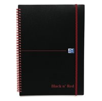 Black n Red Wirebound Elasticated Notebook A5 Polypropylene 140 Pages Feint 846350109