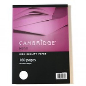 Cambridge Refill Pad A4 Punched 4-Hole Ruled Feint and Margin 100 Leaf Side Bound 846400176
