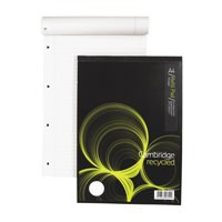 Cambridge Recycled Refill Pad A4 Punched 4-Hole Ruled Feint and Margin Head Bound 846400173