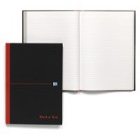 Black n Red Casebound Manuscript Book 192 Pages A4 Ruled Feint 100080446