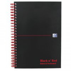 Black n Red Notebook Soft Cover Wirebound Perforated 90gsm Ruled 100pp A5 Ref 100080155 [Pack 10]