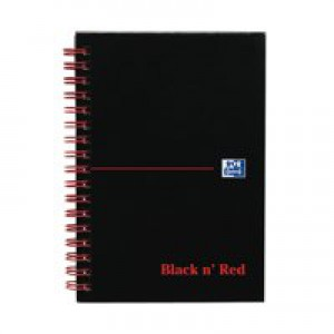 Black n Red Wirebound Notebook A6 140 Pages Ruled Feint Perforated 100080448