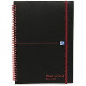 Black n Red Wirebound Elasticated Notebook A4 Polypropylene 140 Pages Feint Recycled 846350973
