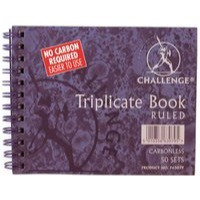 Image for Challenge Wirebound Carbonless Triplicate Book 105x130mm Ruled Feint 100080472