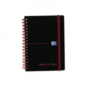 Black n Red Wirebound Elasticated Notebook A6 Polypropylene 140 Pages Feint 100080476
