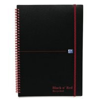 Black n Red Wirebound Notebook A4 140 Pages Ruled Feint Recycled 846350972