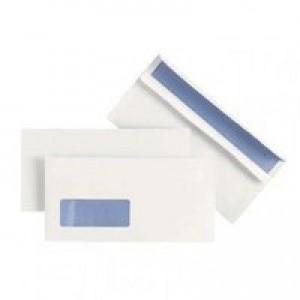 Plus Fabric Envelope DL Window White Prestige 110gsm Wallet Press Seal Pack of 500 J22370