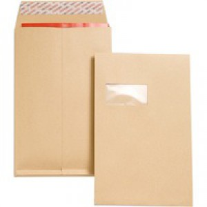 New Guardian Gusset Envelope C4 Window 135gsm Manilla Peel and Seal Pack of 100 J27366