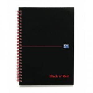 Black n Red Wirebound Notebook A5 140 Pages Ruled Feint and Indexed 100080194