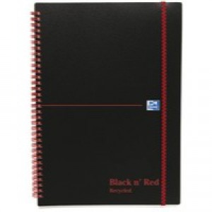 Black n Red Wirebound Elasticated Notebook A5 Polypropylene 140 Pages Feint Recycled 846350963