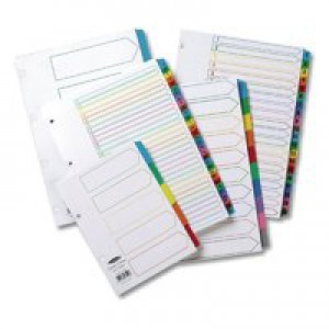 Concord Index Multicolour-tabbed Mylar-Reinforced 4 Holes Jan-Dec A4 White Ref CS24