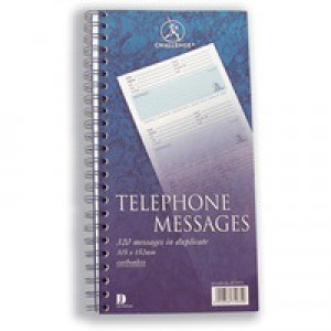 Challenge Telephone Message Book Wirebound Carbonless 320 Messages 305x152mm Code K71975