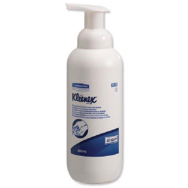 Kleenex Non-Alcohol Foam Sanitiser 480ml 6351 with FOC Sanitary Wipes