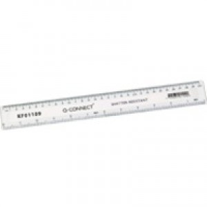 Q-Connect Ruler Shatterproof 300mm White