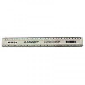 Q-Connect Ruler Shatterproof 300mm White KF01109Q