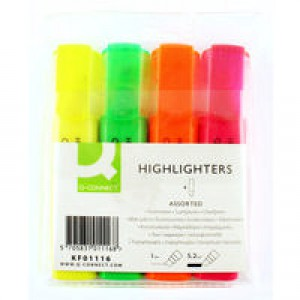Q-Connect Highlighter Pen Assorted Wallet of 4 KF01116