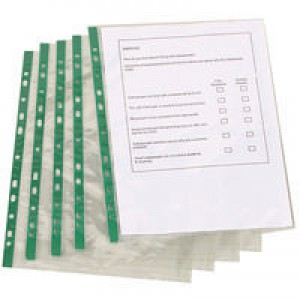 Q-Connect Punched Pocket A4 Glass Clear Top-Opening Green Strip Pack of 100 KF01121