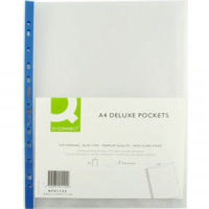 Q-Connect Punched Pocket A4 Deluxe Top-Opening Blue Strip Pack of 25 KF01122