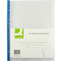Q-Connect Punched Pocket A4 Deluxe Top-Opening Blue Strip Pack of 25