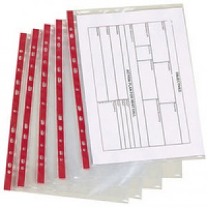 Q-Connect Punched Pocket A4 Deluxe Side-Opening Red Strip Pack of 25 KF01123