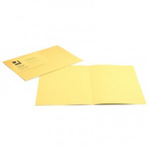 Q-Connect Square Cut Folder Medium-weight 250gsm Foolscap Yellow