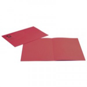 Q-Connect Square Cut Folder Medium-weight 250gsm Foolscap Red