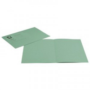 Q-Connect Square Cut Folder Medium-weight 250gsm Foolscap Green