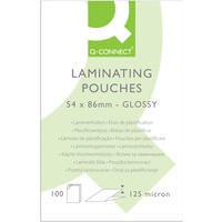 Q-Connect Laminating Pouch 54x86mm 125micron Pack of 100