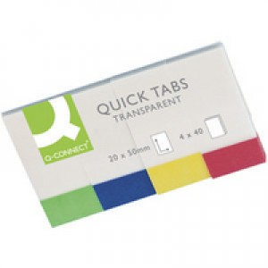 Q-Connect Quick Tabs 20x50mm Transparent Pack of 4x40 KF01225