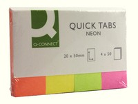 Q-Connect Quick Tabs 20x50mm Neon Pack of 4x40