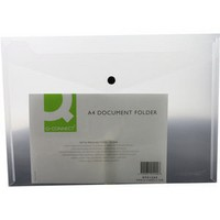 Q-Connect Document Folder Plastic A4 Clear Popper (Pack of 12)
