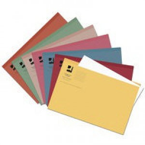 Q-Connect Square Cut Folder Light-Weight 180gsm Foolscap Assorted Pk 100 KF01491