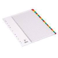 Q-Connect Index A4 Multi-Punched 1-31 Reinforced Multi-Colour Tabbed