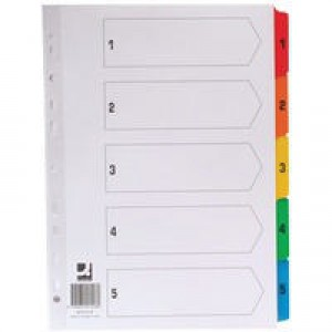 Q-Connect Index A4 Multi-Punched A-Z 20-Part Reinforced Multi-Colour Tabbed