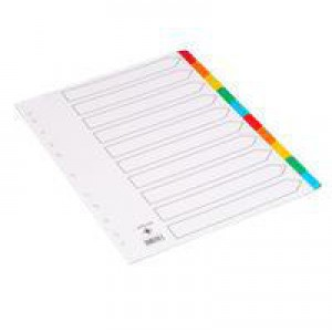 Q-Connect Index A4 Multi-Punched 10-Part Reinforced Multi-Colour Tabbed