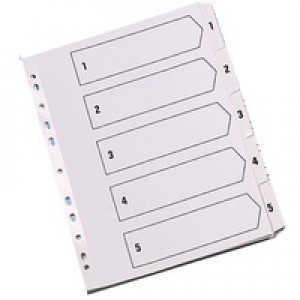 Q-Connect Index A4 Multi-Punched 1-5 Reinforced White Board Clear Tabbed