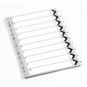 Q-Connect Index A4 Multi-Punched 1-10 Reinforced White Board Clear Tabbed