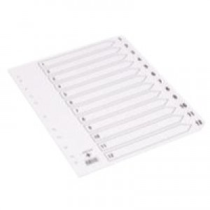Q-Connect Index A4 Multi-Punched 1-12 Reinforced White Board Clear Tabbed
