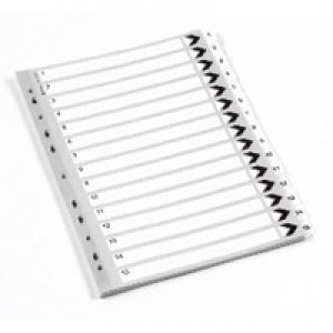 Q-Connect Index A4 Multi-Punched 1-15 Reinforced White Board Clear Tabbed