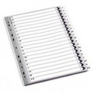 Q-Connect Index A4 Multi-Punched 1-20 Reinforced White Board Clear Tabbed