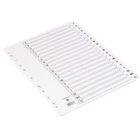 Q-Connect Index A4 Multi-Punched A-Z 20-Part Reinforced White Board Clear Tabbed