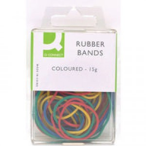 Q-Connect Rubber Bands 15gm Assorted Coloured