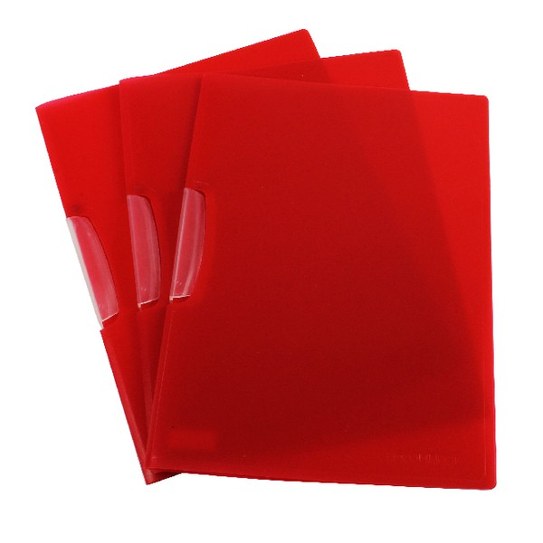 Q-Connect Swivelclip File A4 Red Frosted Pack of 25