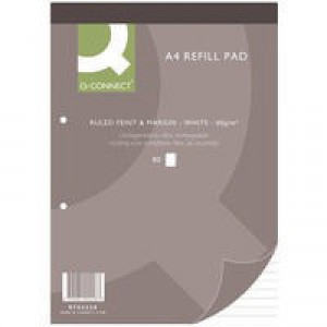 Q-Connect Refill Pad A4 Ruled Feint and Margin Punched 2-Hole Head Bound 80 Leaf