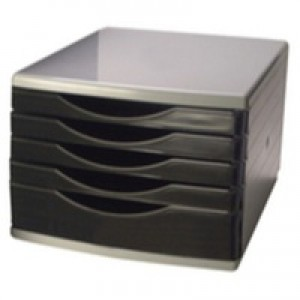 Q-Connect 5 Drawer Tower Black/Grey